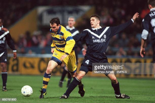 Parma's Abel Balbo gets past Bordeaux's Nisa Saveljic