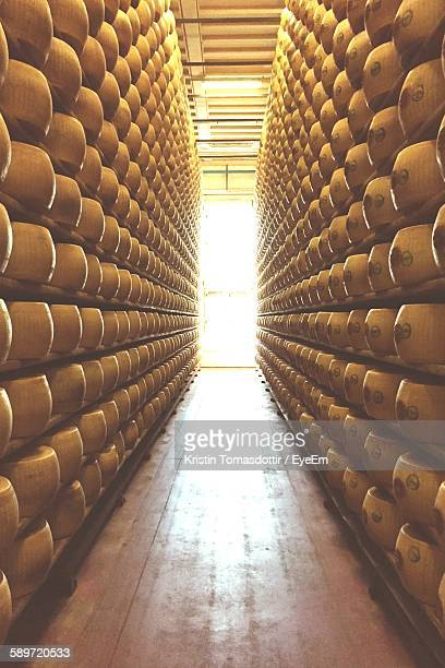 Parmesan Cheese On Rack In Factory