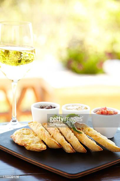 Parmesan crusted bread with three different dips