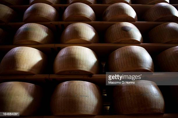 Parmesan forms in aging warehouses of Parmesan cheese and Grana Padano cheese on January 01 2012 in Fiorenzuola d'Arda Italy The aging warehouses has...