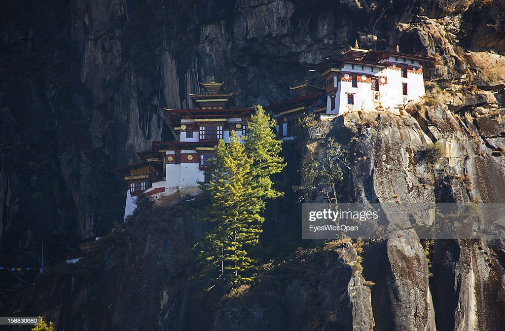 Paro Taktsang, also called Taktsang Palphug Monastery or Tiger `s Nest, a famous sacred site and temple complex reachable by a 3 hours footwalk for tourists and locals on November 18, 2012 in Paro near Thimphu, Bhutan. Its located in a valley near Paro surrounded by mountains and was built in 1692.