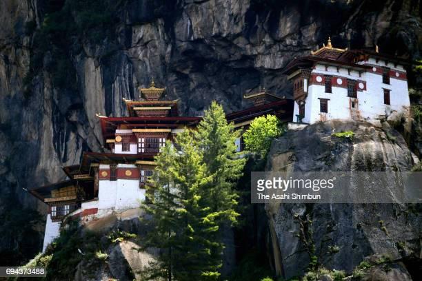 Paro Taktsang temple is seen on June 6 2017 in Paro Bhutan