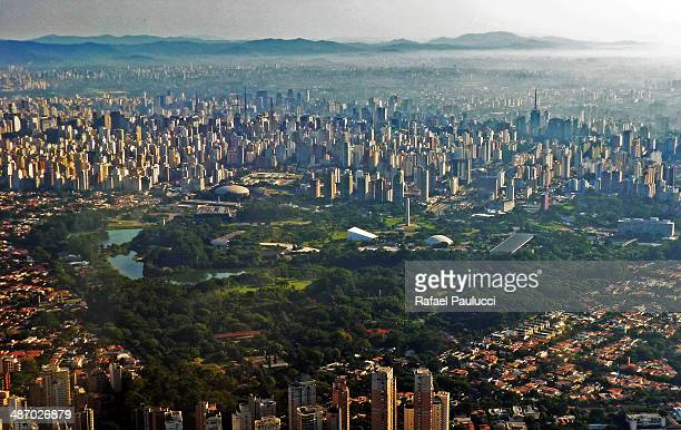 Parque do Ibirapuera in Sao Paulo in aerial shot