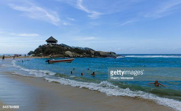 Parque Nacional Natural Tayrona Magdalena State Colombia August 19 2015 People enjoy the sea side in Tayrona National Natural Park