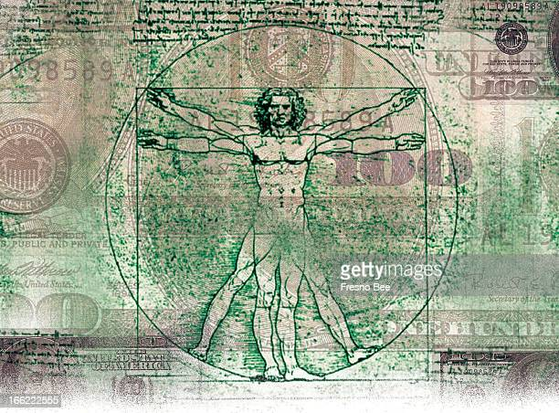 Parra color illustration of Da Vinci's Vitruvian Man over US currency