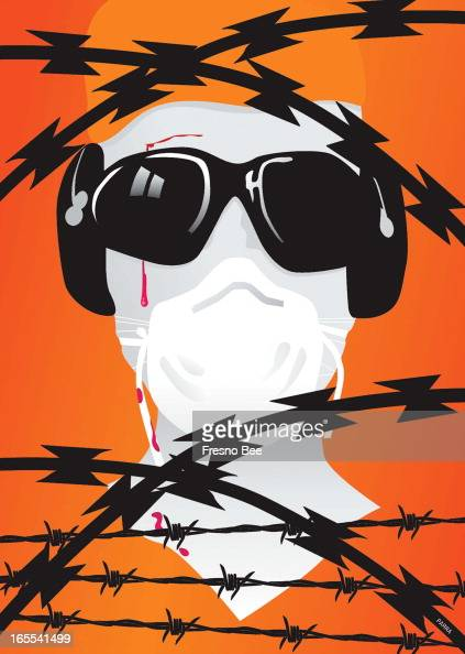 Parra color illustration of Guantanamo detainee goggled earmuffed gagged prisoner combative behind razor wire and barbed wire