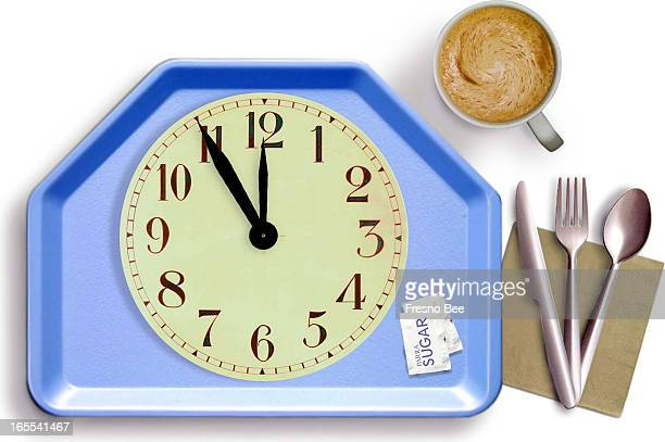 Parra color photo illustration of a clock as plate on lunchtray with coffee and utensils Ran with a story about a recent lawsuit that allows...