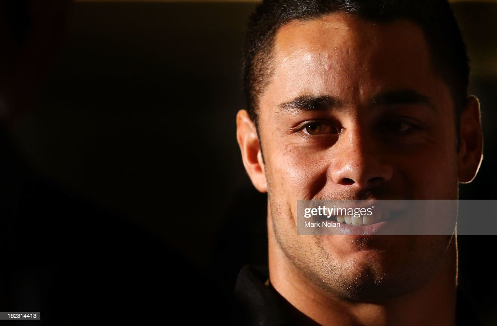 Parramatta co-captain Jarryd Hayne speaks to the media after the Parramatta Eels NRL captaincy announcement at Parramatta Stadium on February 22, 2013 in Sydney, Australia.