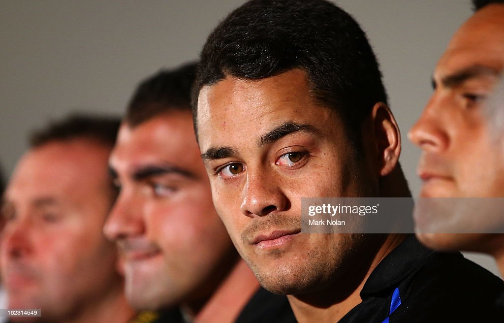 Parramatta co-captain <a gi-track='captionPersonalityLinkClicked' href=/galleries/search?phrase=Jarryd+Hayne&family=editorial&specificpeople=563352 ng-click='$event.stopPropagation()'>Jarryd Hayne</a> speaks to the media after the Parramatta Eels NRL captaincy announcement at Parramatta Stadium on February 22, 2013 in Sydney, Australia.