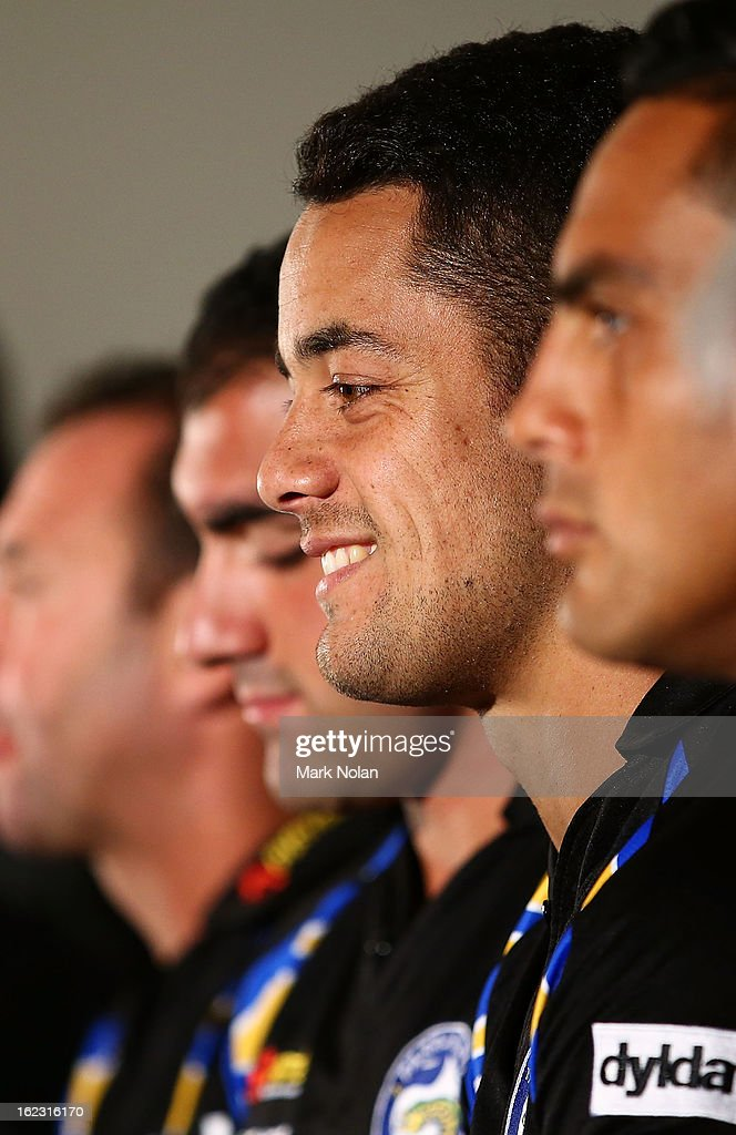 Parramatta co-captain <a gi-track='captionPersonalityLinkClicked' href=/galleries/search?phrase=Jarryd+Hayne&family=editorial&specificpeople=563352 ng-click='$event.stopPropagation()'>Jarryd Hayne</a> speaks to the media during the Parramatta Eels NRL captaincy announcement at Parramatta Stadium on February 22, 2013 in Sydney, Australia.