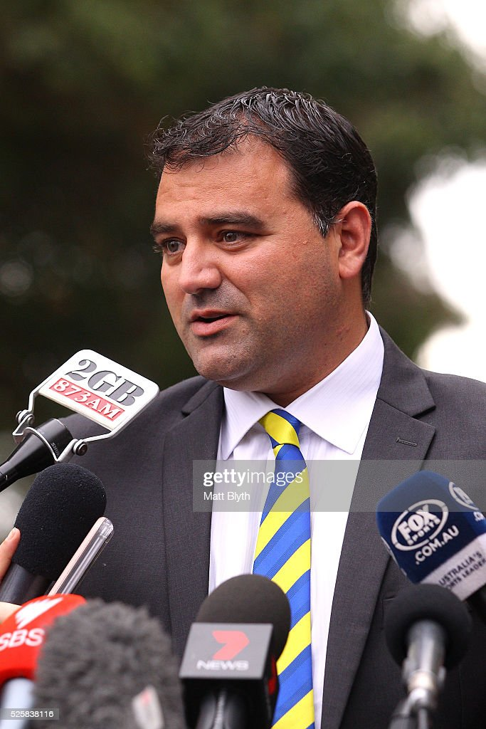 Parramatta Eels CEO John Boulous addresses the media regarding captain Kieran Foran at Parramatta Leagues Club on April 29, 2016 in Sydney, Australia. Foran has been granted indefinite leave to deal with personal reasons.