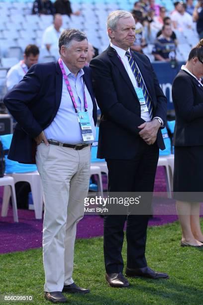Parramatta Eels Chairman Max Donnelly and Parramatta Eels CEO Bernie Gurr watch the presentation after the 2017 Holden Cup Grand Final match between...