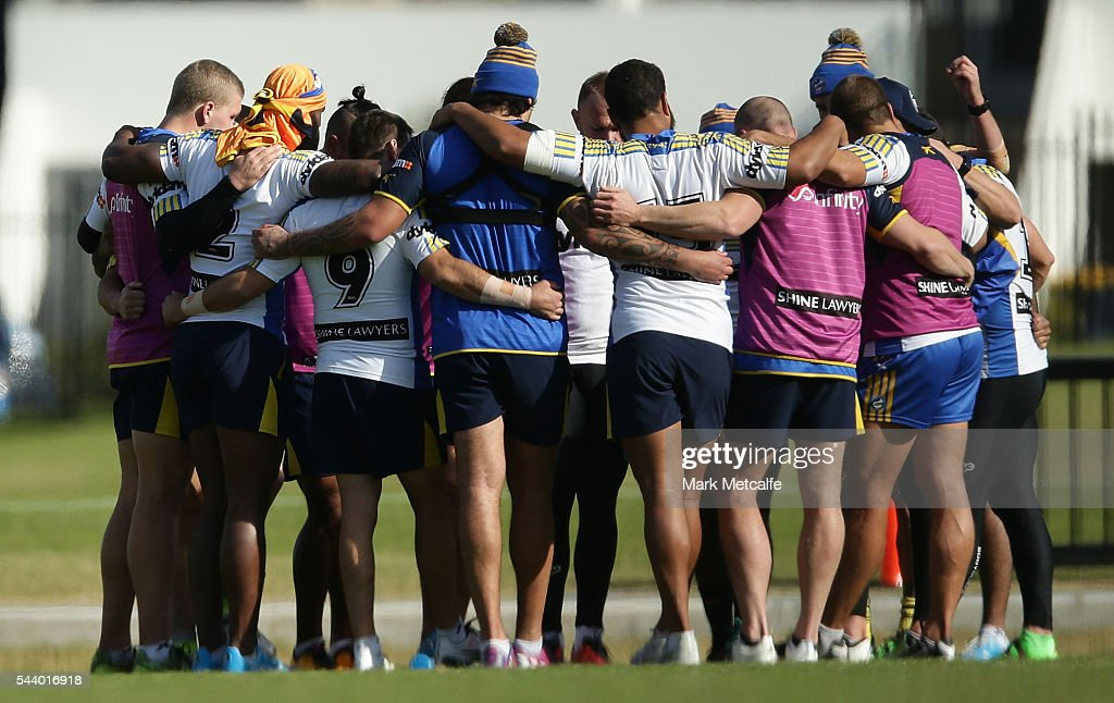 Parramatta Eels huddle during a training session at the Eels Training Centre on July 1, 2016 in Sydney, Australia.