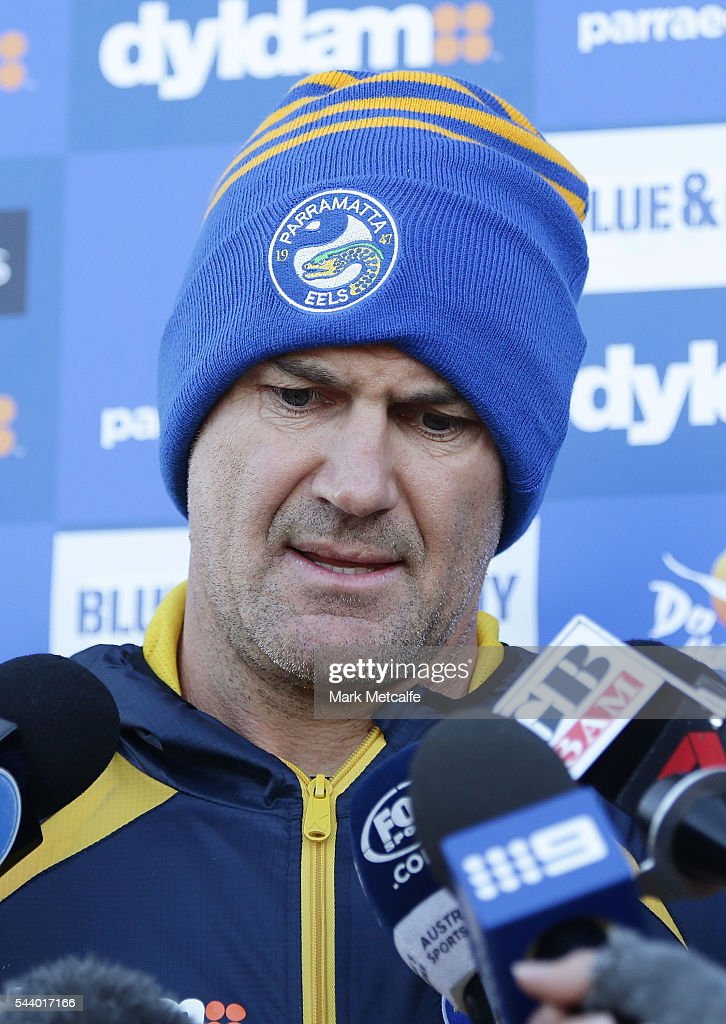Parramatta Eels NRL coach Brad Arthur speaks to the media during a press conference at the Eels Training Centre on July 1, 2016 in Sydney, Australia.