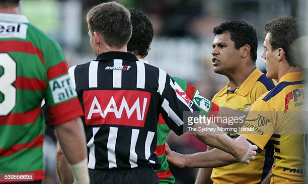 Parramatta Eels V South Sydney Game Dean Widders has words with Bryan Fletcher after an altercation 3 July 2005 SMH Picture by TIM CLAYTON