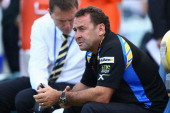 Parramatta head coach Ricky Stuart watches on during warmup before the round one NRL match between the Parramatta Eels and the Warriors at Parramatta...