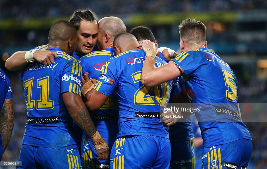 Parramatta players celebrate a try by Vai Afu Toutai of the Eels during the round nine NRL match between the Parramatta Eels and the Canterbury Bulldogs at ANZ Stadium on April 29, 2016 in Sydney, Australia.