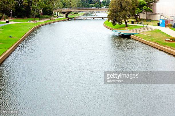Parramatta river in Parramatta NSW Australia, elevated view, copy space