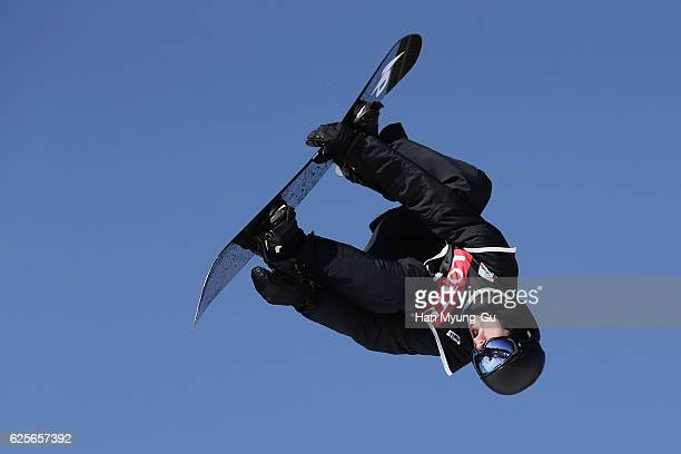Parrot Max of Canada competes in Mens H2 Qualifications R2 during the FIS Snowboard World Cup 2016/17 at Alpensia Ski Jumping Center on November 25...