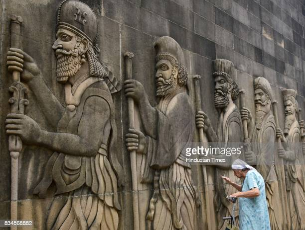 Parsi community celebrating Jamshedi Navroz or Pateti at Fire Temple in Tardeo on August 17 2017 in Mumbai India Nowruz also spelled as Navroz is the...