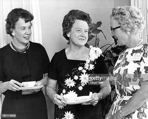 SEP 5 1964 JAN 15 1966 Parsonage Wives Greet 'First Lady' Mrs R Marvin Stuart center wife of Denver's new Methodist bishop is being welcomed at a...