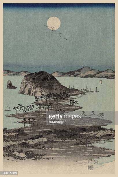 Part 2 of a triptych entitled 'Evening view of the eight famous sites at Kanazawa in Musashi Province' by Ando Hiroshige started in 1858