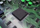 IC Part component and line circuit on board electronic for background technology concept.