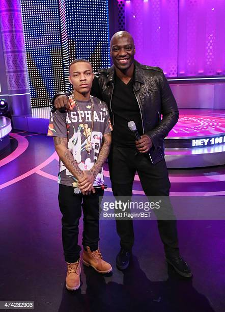106 Part host Bow Wow and actor Adewale AkinnouyeAgaje visits 106 Park at BET studio on February 13 2014 in New York City