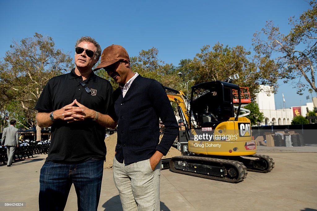 Part LAFC owner Actor Will Ferrell chats with former professional soccer player Calen Carr at the Los Angeles Football Club Stadium Groundbreaking...