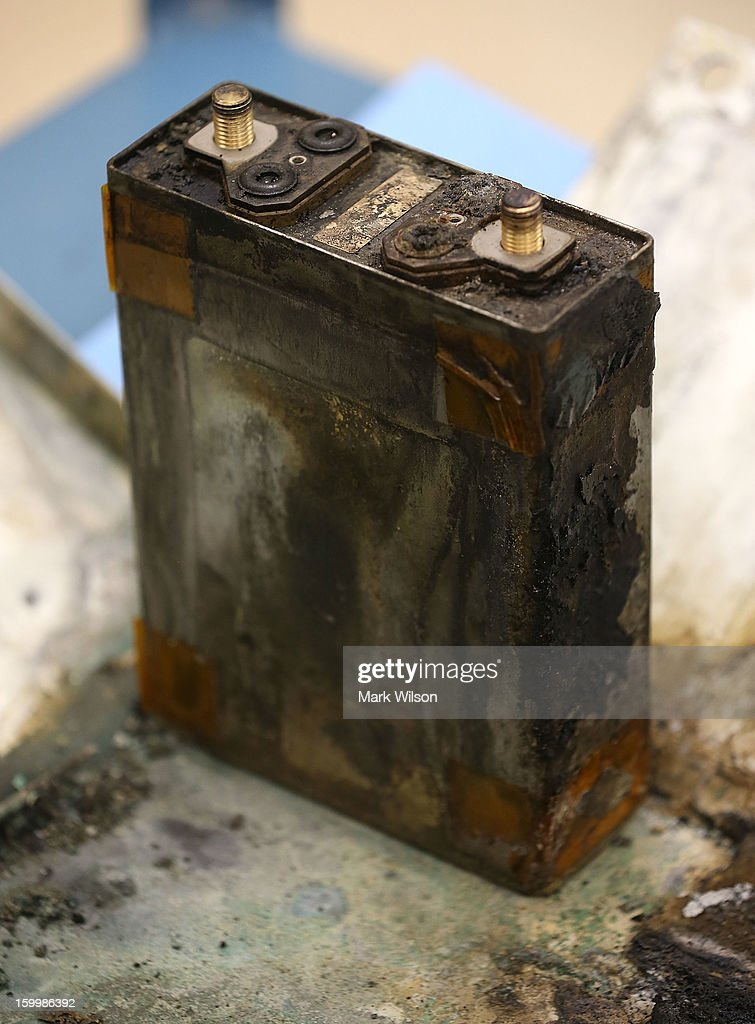 A part of a charred battery from a Japan Airlines (JAL) 787 is displayed at the NTSB headquaters on January 24, 2013 in Washington, DC. The NTSB held a news conference to discuss the batteries that caused the January 7, fire aboard a Japan Airlines (JAL) Boeing 787 at Logan International Airport in Boston.