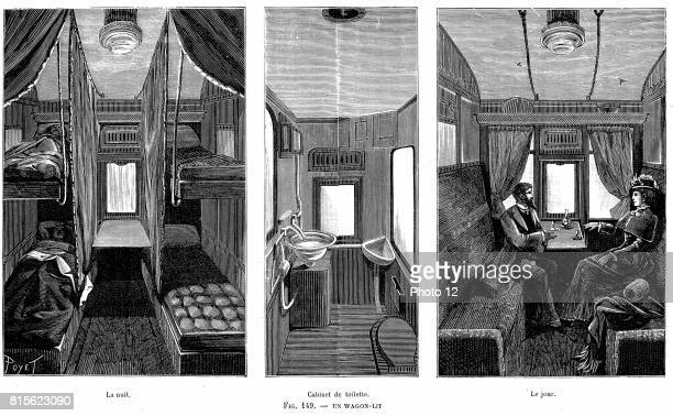 Part of a French wagonlit showing accommodation by day and night and centre the lavatory and WC Carriages were doubleglazed and heated and there was...