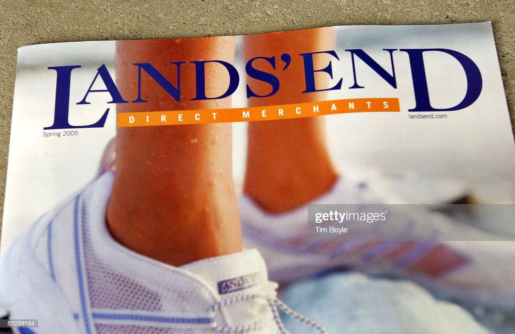 Part of a Lands' End catalog is seen outside its outlet store February 23 2005 in Schaumburg Illinois Lands' End a unit of Sears says it will...