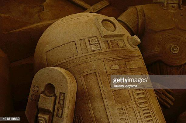A part of a large sand sculpture is seen ahead of the promotional exhibition for 'Star Wars The Force Awakens' at the Sand Museum parking area in...