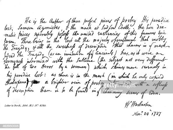 Part of a letter from Bishop Warburton, respecting the