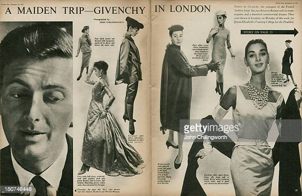 Part of a Picture Post magazine article on a show of the new winter collection from French designer Hubert de Givenchy at the Dorchester Hotel London...