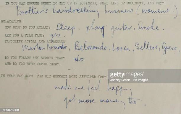 Part of a questionnaire completed by Beatle Sir Paul McCartney circa 1963 is part of a set on view including those filled in by fellow Beatles Ringo...