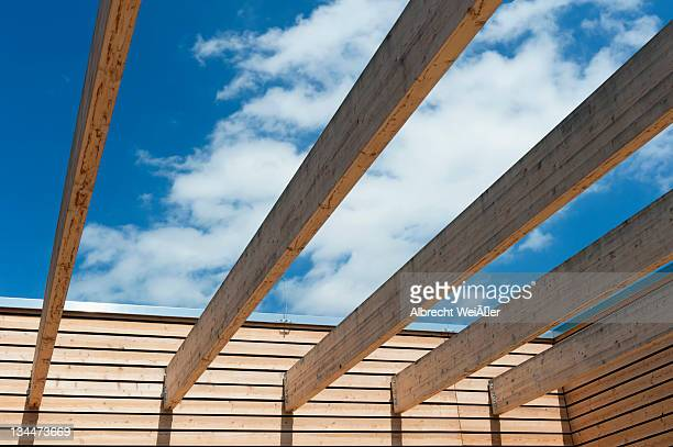 Part of a roof construction of a modern wooden pavilion, Germany, Europe