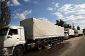 Part of a Russian aid convoy is viewed in the city of Lugansk on September 13 2014 in Lugansk Ukraine Lugansk a separatist held city close to the...
