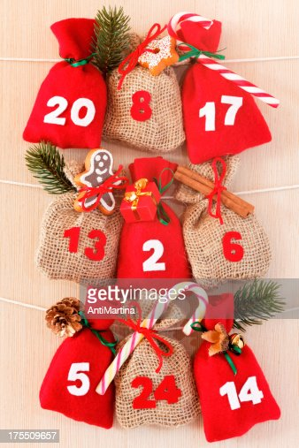 part of advent calendar with little bags