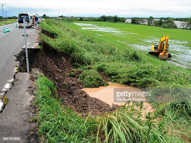 A part of dike of Chikugogawa River is dameged due to the heavy rain triggered by Typhoon Goni on August 25 2015 in Kurume Fukuoka Japan At least 51...