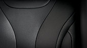 Part of  leather car seat details. Black perforated leather.