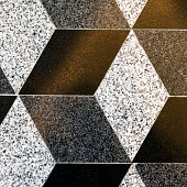 Part of mosaic rhombus ceramic floor tiles, background, texture, beige and brown colors, square