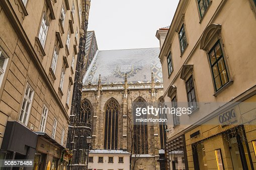 Part of St. Stephen's Cathedral (Stephansdom) from Churhausgasse : Stockfoto