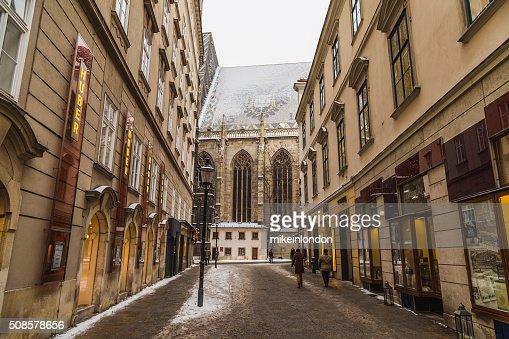 Part of St. Stephen's Cathedral (Stephansdom) from Churhausgasse : Bildbanksbilder