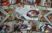 Part of the artwork of Michelangelo that adorns the ceiling of the Sistine Chapel at the Vatican Italy