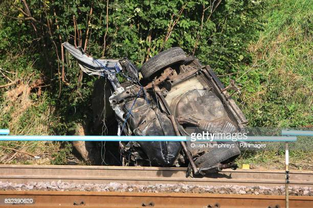 Part of the car which collided with a train killing the motorist late Monday evening on the East Coast Main Line in the village of Copmanthorpe
