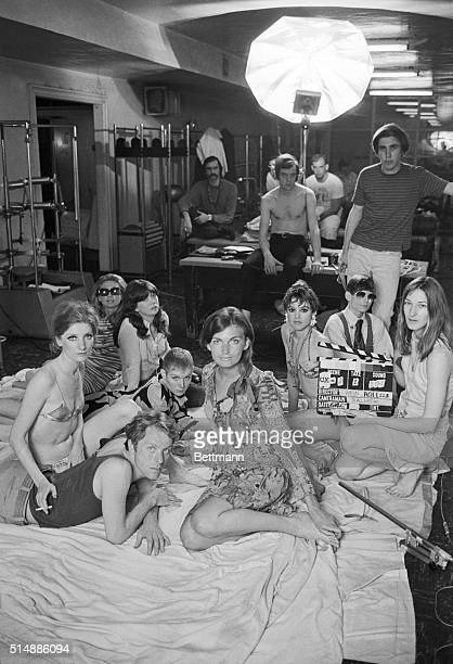 Part of the 'Ciao Manhattan' cast and crew prepare to shoot a scene in New York Health Club Included are the film's star Edie Sedgwick Director Chuck...