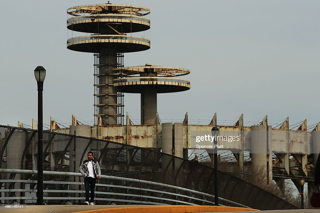 Part of the closed and dilapidated New York State Pavilion is shown during festivities marking the anniversary of the 1964 World's Fair which opened...