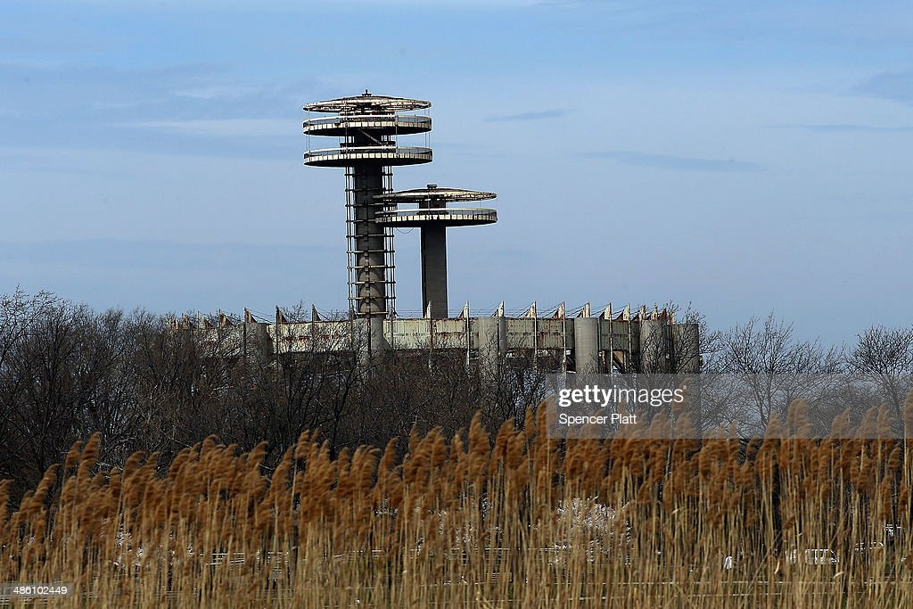Part of the closed and New York State Pavilion is viewed as part on a tour during festivities marking the 50th anniversary of the 1964 World's Fair...