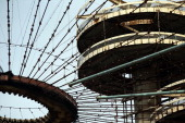 Part of the closed New York State Pavilion is viewed as part on a tour during festivities marking the 50th anniversary of the 1964 World's Fair which...